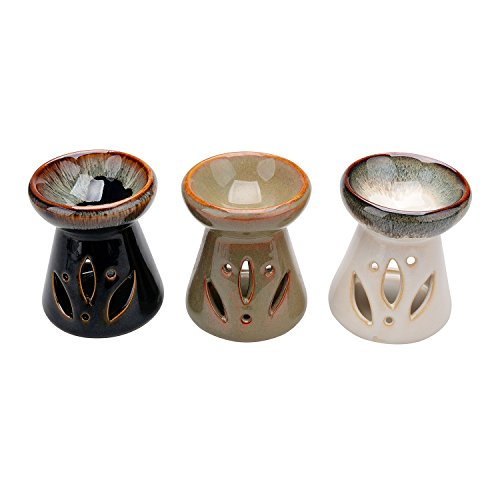 Derker Ceramic Mini Oven Oil Warmer, Porcelain Tealight Trio Candle Diffuser,Simple hollow out flower Tealight Candle Holder Set. (Oven Oil Warmer compare prices)