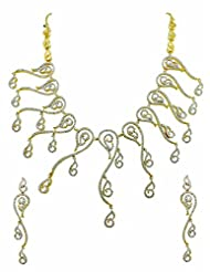 Designer Ethnic CZ Necklace Set In Golden Silver Polish