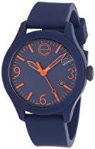 """ESQ Movado Unisex 07301441 """"ESQ ONE"""" Stainless Steel and Silicone Navy Blue Watch with Orange Accents"""