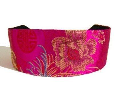 Luxurious Silk Brocade, Golden Flowers, Blue Leaves Over Bright Fuchsia, Gorgeous Headband By Bargain Headbands