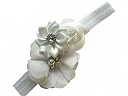Bellazaara BELLAZAARA Couture Baby Girl White Satin Ribbon Flower Headband Head Band (White)