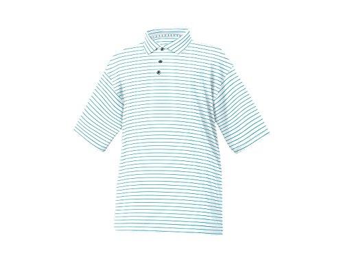 FootJoy Stripe Lisle Knit Collar Golf Polo 2016 White/Aqua Large