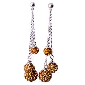 Kadima Swarovski Elements Crystal Disco Ball Stud Dangle Earrings Jewelry 6mm/8mm/10mm Ball Topaz