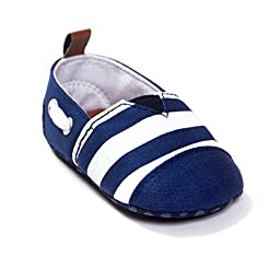 Weixinbuy Newborn Baby Cotton Striped Shoes Crib Shoes Soft Soled Prewalker