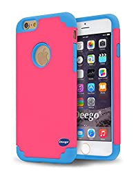 iPhone 6 Cases, Vogue Shop 2in1 Hybrid Case Cover for Iphone 6. Hard Cover for Iphone 6 Printed Design Pc+ Silicone Hybrid High Impact Defender Case Combo Hard Soft Cases Covers (Rose+Blue)