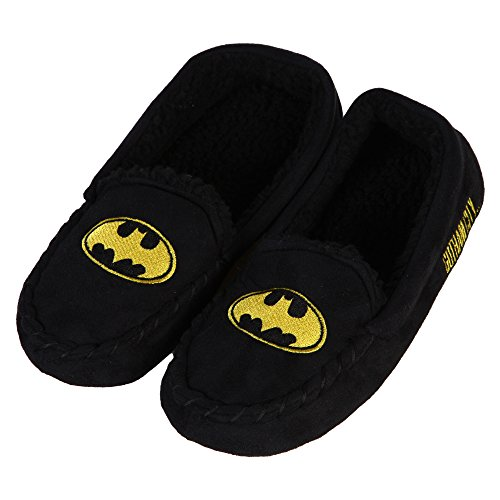 Batman Embroidered Bat Logo Moccasin Slippers - Women's X-Large (12/13)