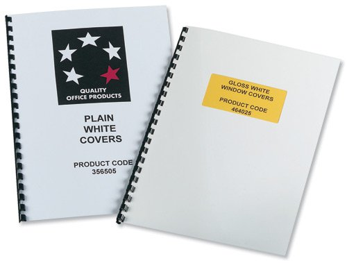 5 Star Office Binding Covers 250gsm Plain A4 Gloss White (Pack 50x2)