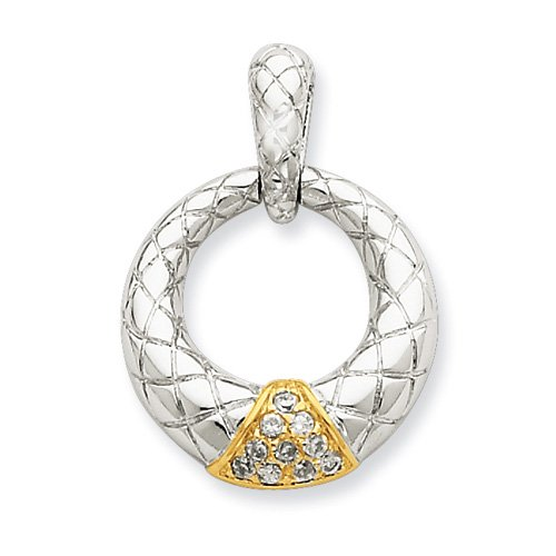 Sterling Silver Cross-Cut Circle W/ Cz And Gold-Plated Triangle Design Pend.