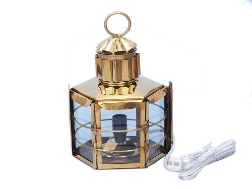 """Handcrafted Nautical Decor Solid Brass Clipper Electric Lamp, 11"""", Brass"""