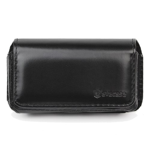Evecase Universal Horizontal Medium Leatherette Case With Belt Clip - Black For At&T Samsung Sgh-A777, Iphone 4S 4