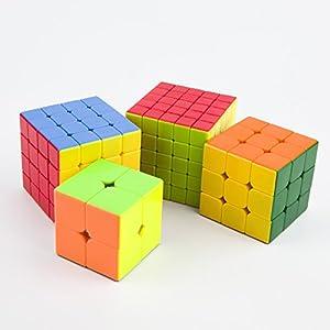 LoveBoutique 2×2,3×3,4×4,5×5 QiYi Speed Cube Stickerless Magic Puzzle Cube,Set of 4
