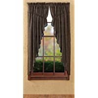 Country Style Black, Charcoal, Light Tan Plaid Prairie Curtain Scalloped Set of 2 63x36x18