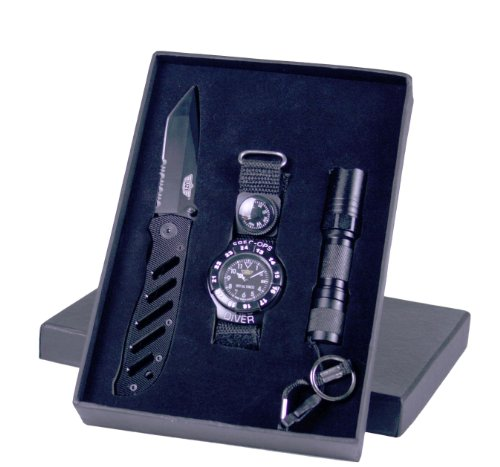 Uzi Uzi-Sfs-1 Special Forces Knife Watch And Led Task Light Combo Pack