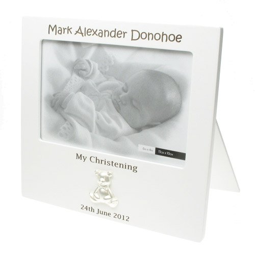 Personalised Christening Photo Frame, White Laser Engraved Christening Frame