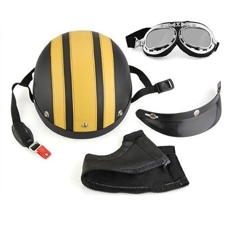 SODIAL(R) Casque Casquette Jet Moto Harley lunettes de protection Visor echarpe Jaune Noir