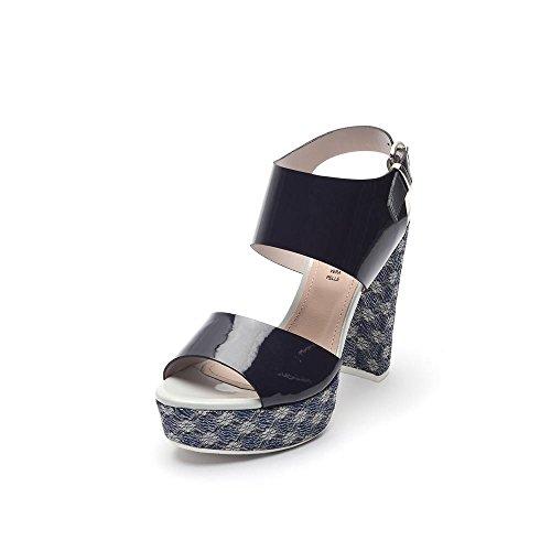 Tipe e Tacchi / sandali con tacco donna colore vernice blu/tessuto rombo blu