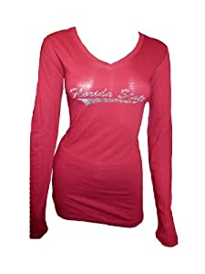 NCAA Florida State Seminoles Ladies Junior Long Sleeve V-Neck Knit Pullover T-Shirt... by Collegiate Fashionista