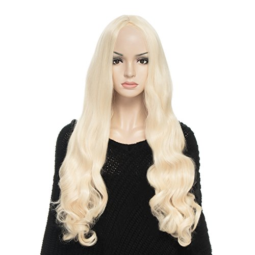 YOPO Wig, Long Curly Light Blonde Wigs for Women, Free Wig Cap & Bobby Pins, 32'' Halloween Cosplay Wig, Central Parting Wig(Light (Mermaid Wig In Blonde)