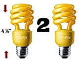 13 Watt Yellow Bug Light Spiral CFL Light Bulb 120V, E26 Medium Base. (Pack of 2)