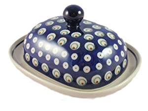 Polish Pottery Boleslawiec Butter Dish, Large, in PEACOCK pattern. Fits a 1/2 lb pack of butter perfectly.