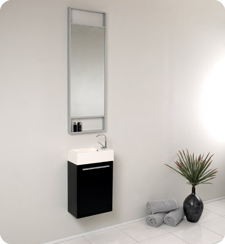 "Senza 15.5"" Pulito Small Modern Bathroom Vanity Set With Tall Mirror Base Finish: Gray Oak front-700337"