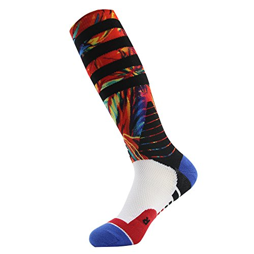 J'colour Mens Color Printed Elite Dri-Fit Knee High Winter Warm Basketball Socks,1-Pack,Red-Feather,Size(10 -13)