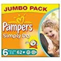 Pampers Simply Dry Size 6 (16+kg) Jumbo Pack Extra Large x 62 per pack