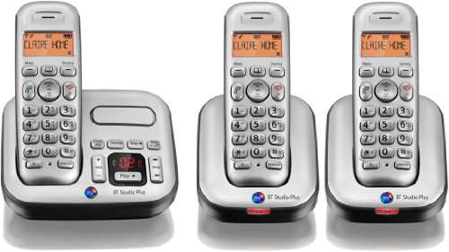 BT Studio Plus 4500 Trio DECT Cordless Telephone with Answer Machine