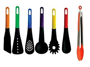 Kitchen Cooking Utensil Basic Essential Tool Set with Tongs - 7 Piece Multi Color Rainbow Hanging Non Stick