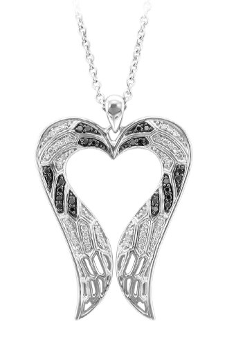 Sterling Silver Angel Feather Wing heart shaped White and Black Diamond Pendant Necklace(GH,I1-I2,0.