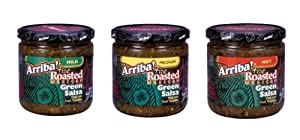 Arriba Fire Roasted Green Salsa Variety Pack Mild Med Hot 16-ounce Jars Pack Of 3 by Arriba!