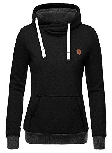 DJT Women's Funnel Neck Kangaroo Pocket Hoodie Sweatshirt Small Black (Cowl Hoodie compare prices)