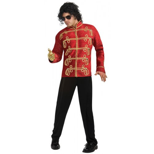 Deluxe Michael Jackson Jacket Adult Costume Military Jacket (Red) - Large