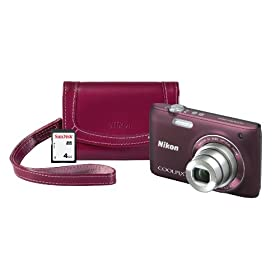 Nikon COOLPIX S4100 14 MP Digital Camera with 3-Inch Touchscreen Display, SanDisk 4GB SD Memory Card, and Leather Case (Plum)
