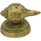 Exotic India Conch Incense Sticks (Agarbatti) Burner With Stand - Brass Statue
