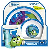 Spearmark 3-Piece Monsters University Tumbler, Bowl and Plate Set, Blue