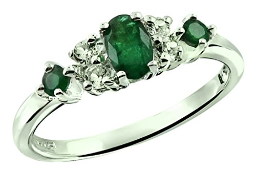 0.54 Carat Natural Emerald with White Topaz Sterling Silver Ring (9) (Genuine Emerald Ring compare prices)