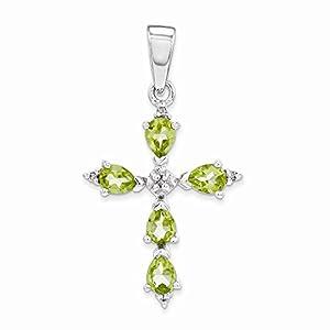 PriceRock Sterling Silver Rhodium Pear Peridot Cross Pendant