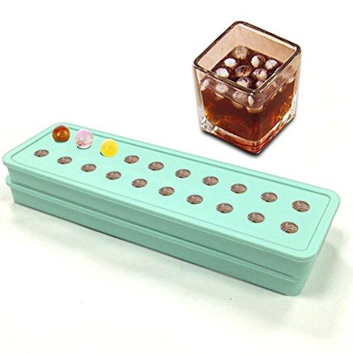 """Set da 2 pezzi, in Silicone, 20 MINI muffin Stampo per sfere di ghiaccio, per cubetti di ghiaccio, con stampi a forma di cubetti di ghiaccio, caramelle DIY perline e biglie da caffè """""""" frutta effetto ghiaccio, motivo: particelle 2"""