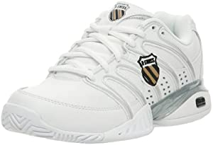 K-Swiss Women's Approach II Tennis Shoe,White/Black/Silver/Gold,9 M