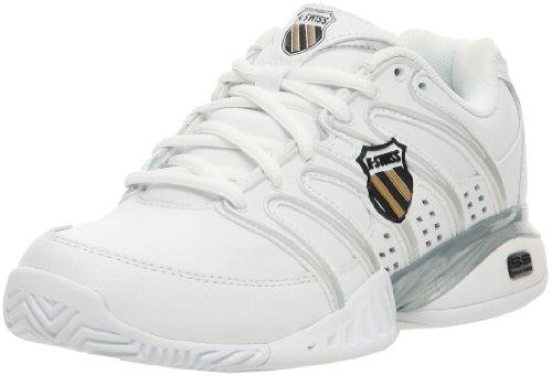 K-Swiss Women's Approach II Tennis Shoe,White/Black/Silver/Gold,6.5 M