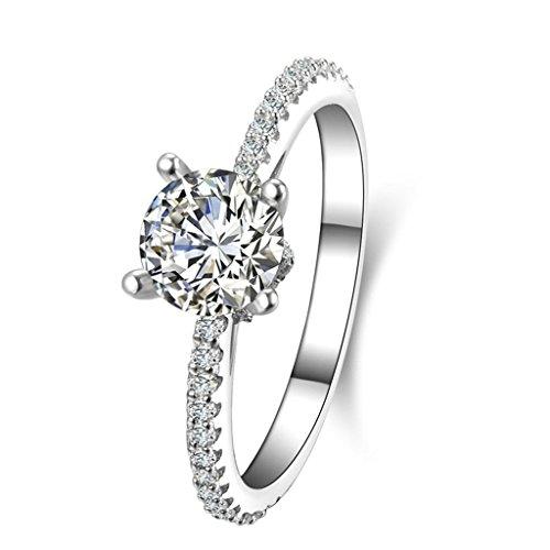 (Personalizzati Anelli)Adisaer Anelli Donna Argento 925 Anello Fidanzamento Incisione Gratuita Rotondo Singola Anello Diamante Taglia 11