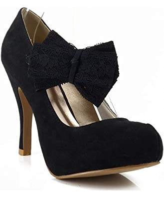 Qupid Trench-89 Bow Mary Jane Platform Pump BLACK (10)