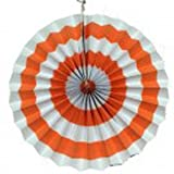 PrettyurParty Orange Stripes Paper Fans
