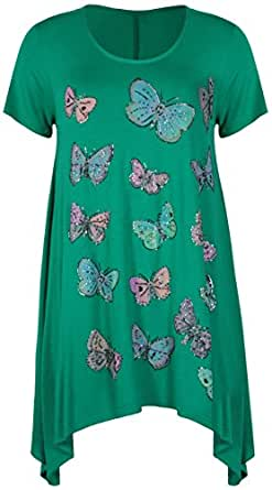 Womens Butterfly Print Ladies Stretch Uneven Hanky Hem Round Scoop Neckline Bead Glitter Long T-Shirt Top Plus Size Jade Green 14