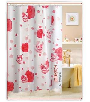 Red Rose Flowers PEVA Shower Curtain Liner Extra Long Yanfang