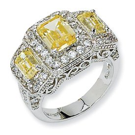Genuine IceCarats Designer Jewelry Gift Sterling Silver Canary & White Cz 3-Stone Ring Size 8.00