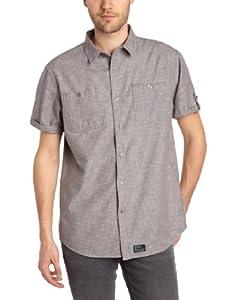 Globe Goodstock Men's Shirt Long-Sleeved grey gray Size:FR : 36 (Taille Fabricant: S)