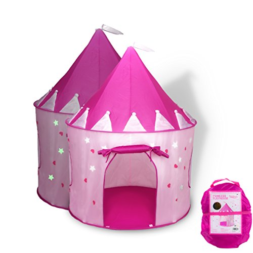 Princess Castle Play Tent with Glow in the Dark Stars, convinientlly folds in to a Carrying Case, your kids will enjoy this Foldable Pop Up pink play tent/house toy for Indoor & Outdoor Use (Play Houses Indoor compare prices)