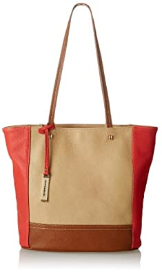 Franco Sarto Stella Tote Shoulder Bag,Chamois/Coral/Saddle,One Size